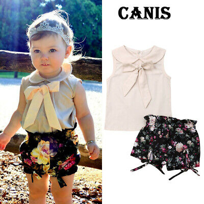 Newborn Kids Toddler Girl Summer Clothes Bow Tops Floral Shorts 2PCS Outfits Set