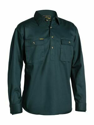 Bisley Workwear Cotton Drill Work Shirt Closed Front Long Sleeve BSC6433 BOTTLE