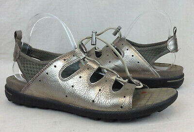 edec5997c157 ECCO Jab Toggle Size 41 10 - 10.5 US Women s Pewter Metallic Leather Sandals
