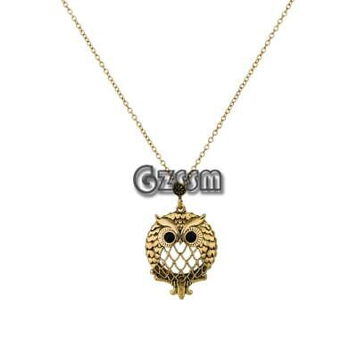 Men Women Fashion Owl Antique Gold Plated Sweater Chain Necklace Jewelry 23.6''