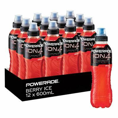 NEW Powerade Berry Ice Electrolytes Isotonic Sports Bottle Drinks 12 x 600mL Red