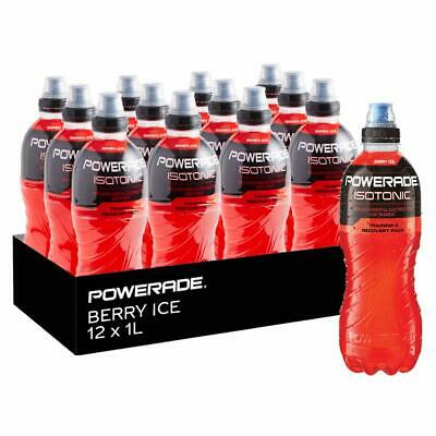 NEW Powerade Berry Ice Electrolytes Isotonic Sports Bottle Drink 12 x 1L Red