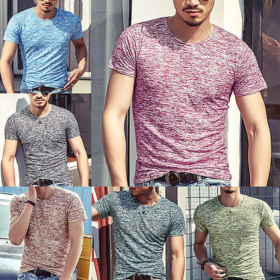 Fashion Men Tee Shirt Slim Fit O Neck Short Sleeve Muscle Casual Tops T Shirts