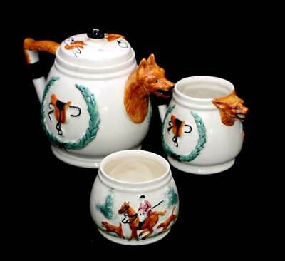 Vintage PPC Portland Potteries Fox Hunting teapot sugar bowl jug tea set
