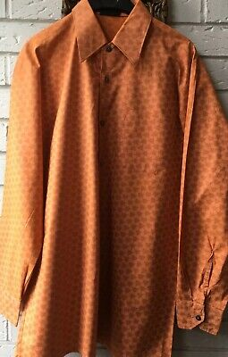 "VINTAGE  80s SCHUTZ VIBRANT ORANGE MAD  MEN DAGGER COLLAR SHIRT  M/LG 44"" CHEST"