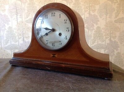 Antique Clock Nelson Hat Inlaid Wood FHT Two Train Chiming For Repair 43x26x16cm
