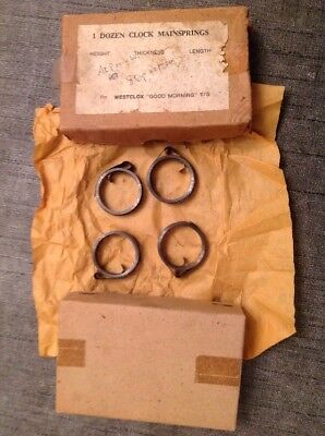 Clock Mainsprings 4 Marked Westclox Good morning T/S NOS Clockmakers Spare Parts