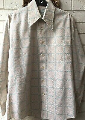 VINTAGE  70S CREAM BLUE & RED DAGGER /MAD MEN STYLE PATTERNED SHIRT M/LG 46chest