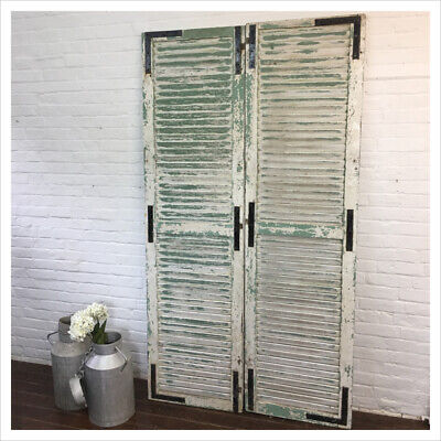 Industrial Vintage Garden Rustic Shabby Wooden French Shutters