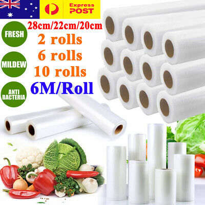 2/6/10X Vacuum Food Sealer 6Mx20/22/28cm Roll Bags Saver Seal Storage Commercial