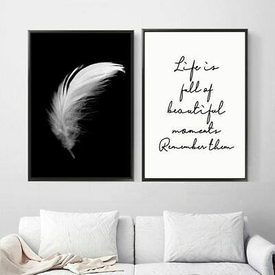 Canvas Feather Quote Painting Posters And Prints Wall Art Black White Pictures