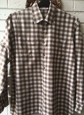 """VINTAGE  90S St MICHAEL BROWN CREAM & GREEN CHECKED SHIRT M/LG 40"""" chest"""
