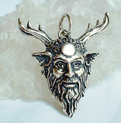 Sterling Silver Green Man Horned God Cernunnos Moon Pendant Wicca Pagan Witch