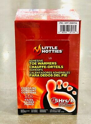 Little Hotties Toe Warmers 30 Pair Pack Air Activated Provides 5-8 hours Heat