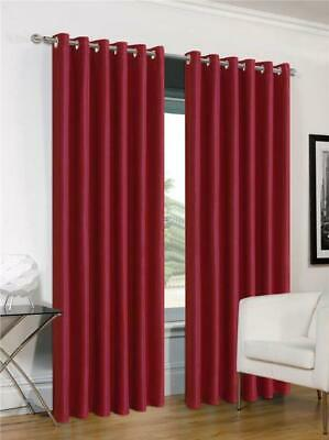 """Red curtains eyelet ring top faux silk 54"""" or 72"""" drop CLEARANCE"""