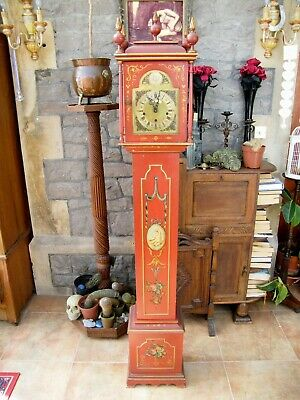 Vintage Hand Painted Long Case/Grandfather Pendulum Key Wind Clock-Chimes-GWO