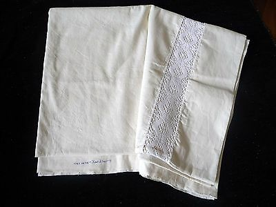 Unused laundered vintage French Fleur Bleue metis linen sheet white Crochet work