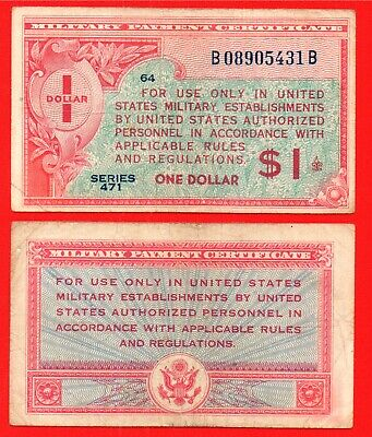 United States series 471 military payment certificate 1 dollar banknote