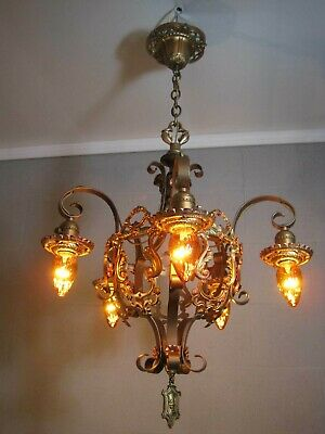 Chandelier Antique Tudor 5 Light Gold & Bronze Finishes Restored Poly Chrome