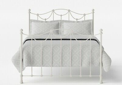 WHITE/IVORY CAST IRON DOUBLE BED FRAME original bed co Carie Bedstead