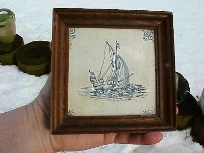 "Framed 18th Century Vintage 4⅝"" Dutch Faience Delft Tile MASTED SAILING SHIP"