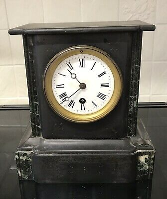 French Slate And Marble Mantle Clock