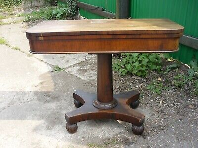 Antique Victorian Swivel Top Cards / Bridge / Games Table