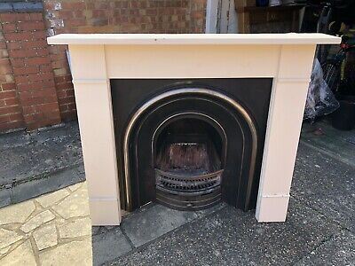 Victorian Cast Iron Arched Fireplace Insert And Painted Pine Fireplace Surround
