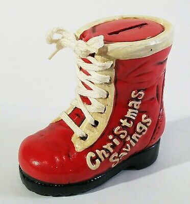 "Vtg Enesco Laced Red Ceramic Santa Boot Shoestring 4 1/2"" Christmas Savings Bank"