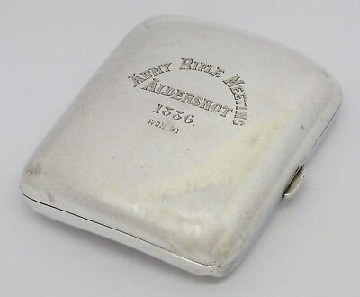 Fine Rare Solid Silver Cheroot Case Hm 1885 'army Rifle Meeting Aldershot 1886'