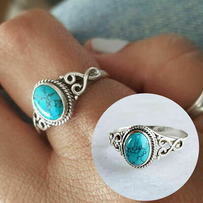 New Women Fashion Jewelry 925 Silver Plated Turquoise Size 10 Ring Finger