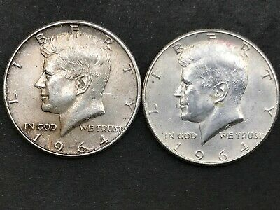 1964P & 1964D Silver Kennedy Half Dollars, LOT OF TWO Estate Coins, MP
