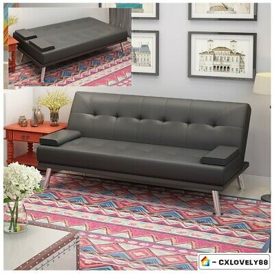 Modern 3 Seater Faux Leather Sofa Bed Recliner Click Clack