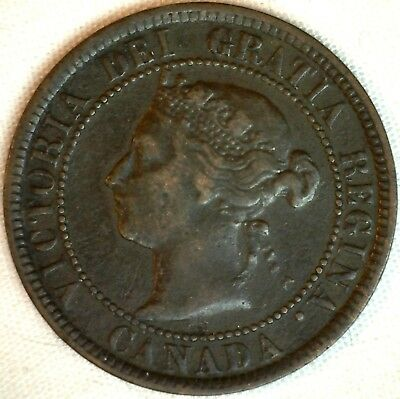 1884 Copper Canadian Large Cent One Cent Coin Fine #9