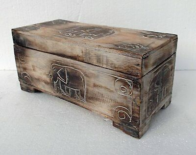 Unusual Hand Carved Elephant Trunk Elephant chest Elephant carved Storage Trunk