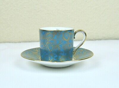 Minton Cup and Saucer Brocade Pattern Blue Gold Gilding Hand Painted Floral