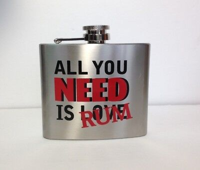 Small Flask - All You Need Is Rum - Brushed Stainless Steel - Love crossed out