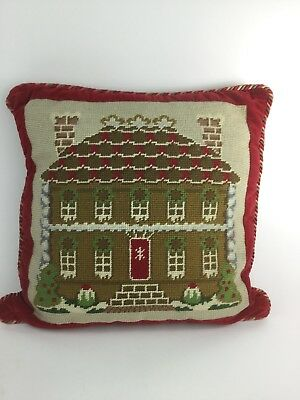 Handmade Needlepoint Pillow Williamsburg Christmas House cabin gingerbread Red
