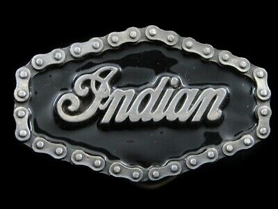 RI15143 VINTAGE 1970s **INDIAN** MOTORCYCLE ADVERTISEMENT BELT BUCKLE