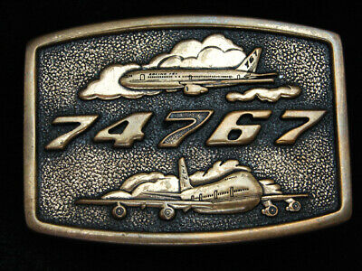 Pk01153 Vintage 1983 **74767** Boeing Aircraft Company Solid Brass Belt Buckle