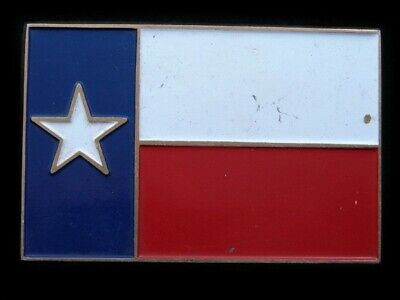 RI15107 VINTAGE 1970s **TEXAS STATE FLAG** COMMEMORATIVE SOLID BRASS BELT BUCKLE