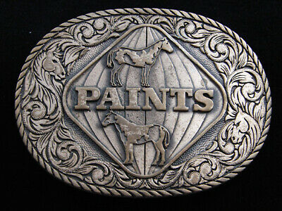 RE09149 VINTAGE 1980s **PAINTS** HORSE BREED SOLID BRASS BELT BUCKLE