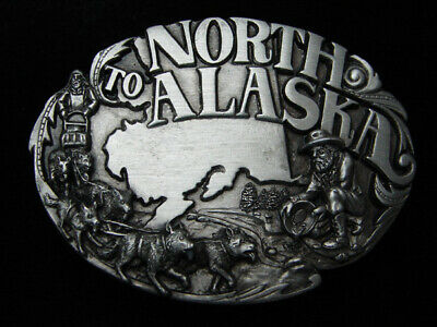Qd15138 *Nos* Vintage 1984 **Alaska** State Commemorative Pewter Belt Buckle