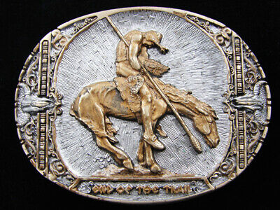 RD15166 VINTAGE 1980s **END OF THE TRAIL** INDIAN ART SOLID BRASS BELT BUCKLE