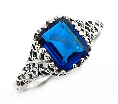 1CT Blue Sapphire 925 Solid Sterling Silver Art Deco Ring Jewelry Sz 9