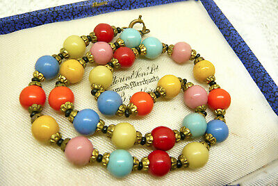 Vintage Art Deco Harlequin Glass Bead Necklace Lovely