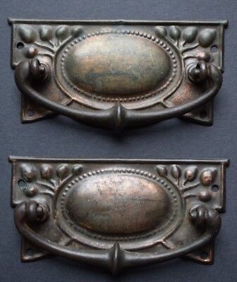 Pair of Arts & Crafts Drawer Pull Handles old vintage chest reclaimed antique