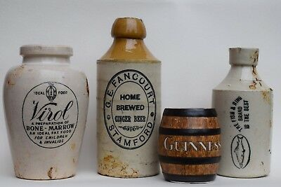 Collection of Victorian Stoneware Jars old pots bottle vintage reclaimed antique