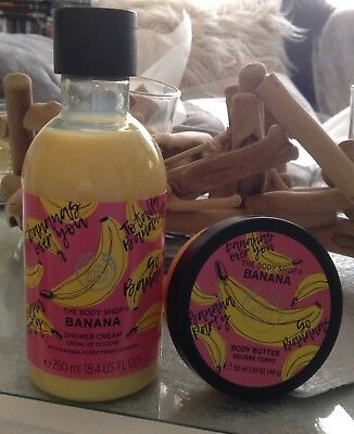 New in body shop banana set shower cream and body butter Ltd Edition