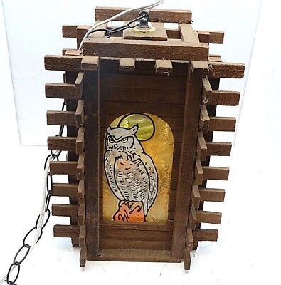 VTG Craftsman mid century modern wood Pendant Light stained glass owl hanging